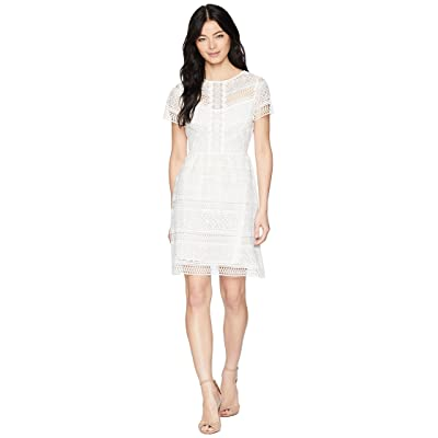 Tahari by ASL Petite Babydoll Lace Dress (White) Women