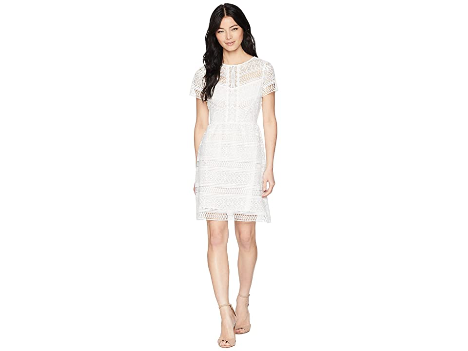 Tahari by ASL Petite Babydoll Lace Dress (White) Women