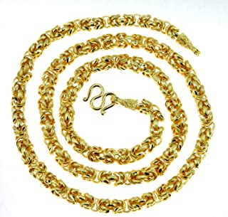 Intricate Byzantine Diamond-Cut Baht Chain Jewelry 24k Gold Plated 25 1/2