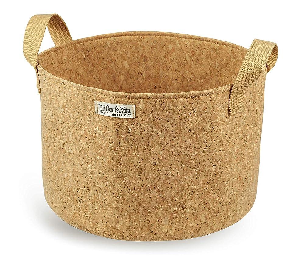 Dom&Vita Soft Cork Bowl with Handles | Large Adjustable Bowl for Fruits Vegetables Bread Food Books Magazines Newspaper Toys| Storage Bowl | Reusable Cork Fabric Bowl | Cork Storage Basket (10 Inches)