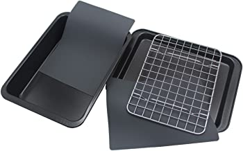 Checkered Chef Toaster Oven Pans - 5 Piece Nonstick Bakeware Set Includes Baking Trays, Rack and Silicone Baking Mats - Be...
