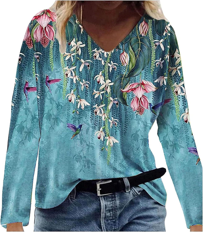 Women's Casual Floral Printing Hoodies Long Sleeve Lightweight Pullover Loose Vintage Sweatshirt