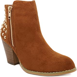 Women's Studded Ankle Booties - Gold Stud Fashion Side Zip Boot