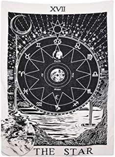 BLEUM CADE Tarot Tapestry The Moon The Star The Sun Tapestry Medieval Europe Divination Tapestry Wall Hanging Tapestries Mysterious Wall Tapestry Home Decor (51