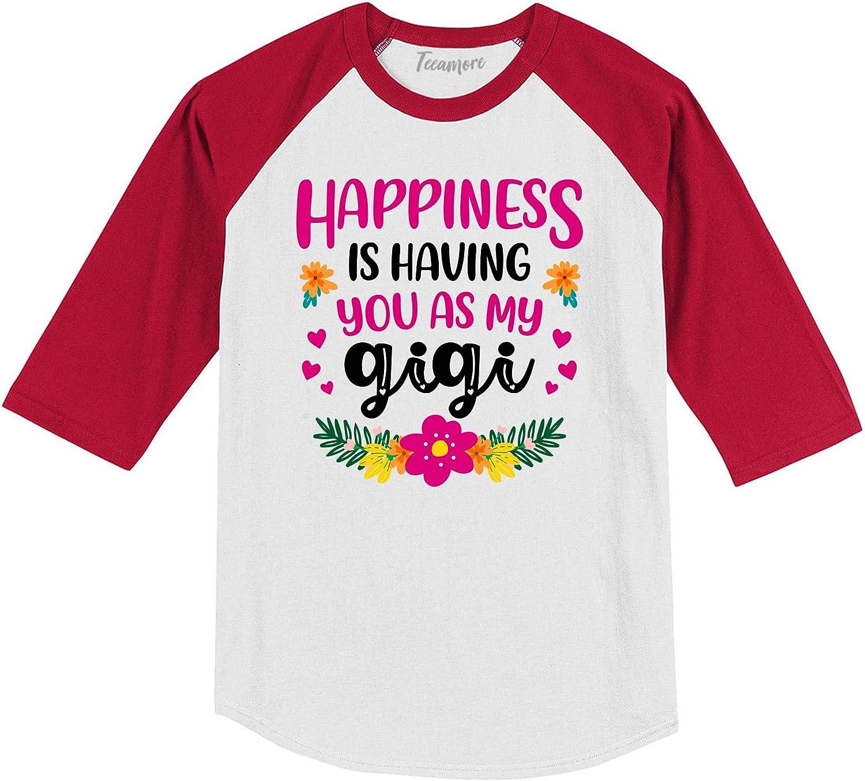 Happinnes is Having You As My Gigi Raglan Tee Grandma and Me Toddler Girl Baseball Shirt