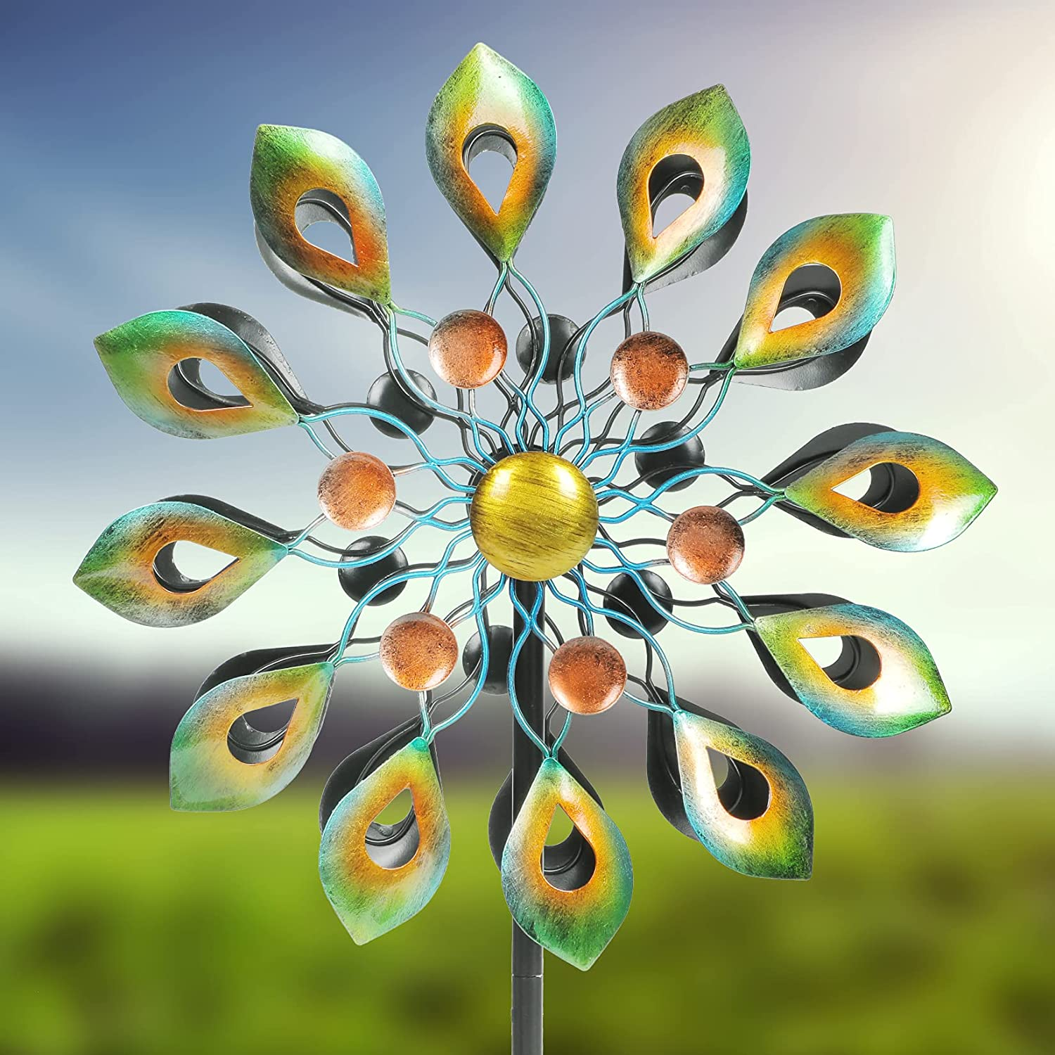 Kinetic Wind Spinner with Garden Stake, Metal Windmill-Kinetic Garden Decoration, 360 Swivel Peacock Outdoor Wind Sculpture Spinners, 63 Inch Dual Direction Colorful Wind Catcher for Yard Lawn
