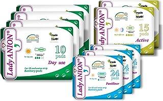 comprar comparacion Lady Anion Compresas Sanitarias y Salvaslips, Algodón organico certificado – 3 Tipos en 1 set (en total 142 piezas) I Comp...