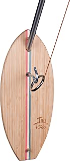 Tiki Toss Hook and Ring Toss Deluxe Set - 100% Bamboo with 5 Ft Telescoping Pole and All Parts Included (Americana Edition)