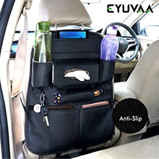 EYUVAA LABEL PU Leather Car Backseat Organizer for SUVs Van Multifunctional Car Back Seat Storage with Tissue Box, Tablet,...