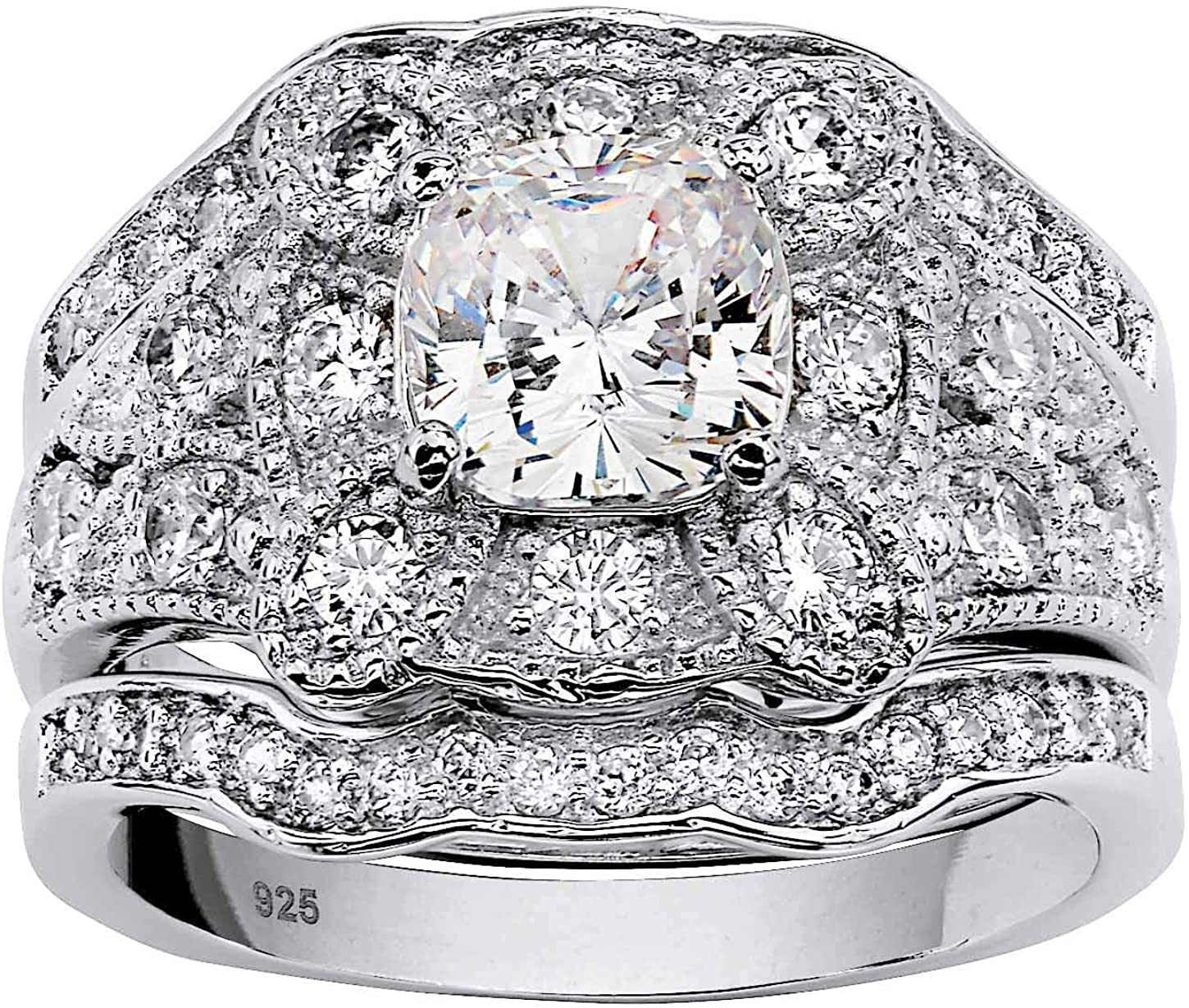 Platinum over Sterling Silver Cushion Cut Vintage Inexpensive Cubic Latest item Zirconia