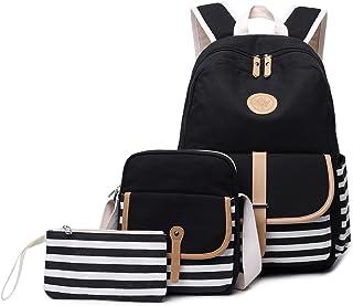 (Black-3pcs 93) - Canvas Students Backpack Casual School Bookbag for Teens Girls Boys (Black-3pcs 93)