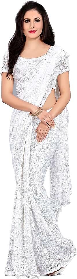 Indian Velmita Women's Net Saree With Unstiched Blouse Piece(Free Size) Saree