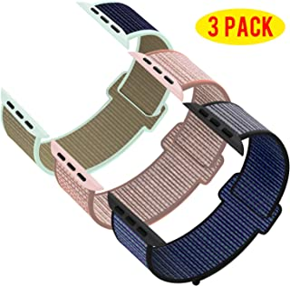 Pack 3 Compatible with Apple Watch Band 38mm 40mm 42mm 44mm, Sport Band Soft Breathable Nylon...