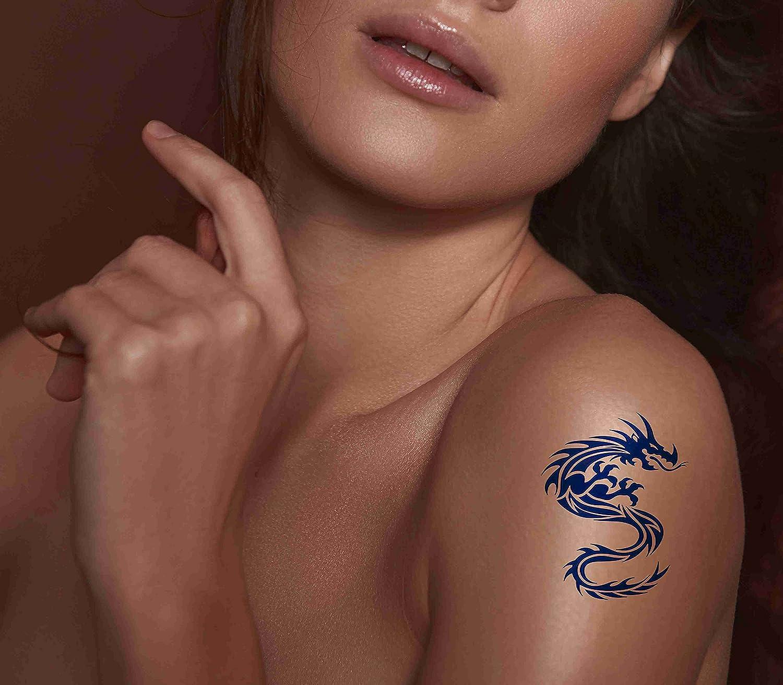 6 Sheets NEW before selling ☆ Temporary Tattoos Dragon Tattoo Popular standard Art Beast Asian Blue Bl
