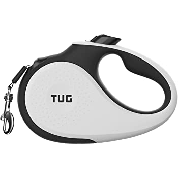 TUG Patented 360° Tangle-Free, Heavy Duty Retractable Dog Leash with Anti-Slip Handle; 16 ft Strong Nylon Tape; One-Handed Brake, Pause, Lock