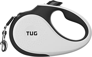 TUG 360° Tangle-Free, Heavy Duty Retractable Dog Leash with Anti-Slip Handle; 16 ft Strong Nylon Tape/Ribbon; One-Handed B...