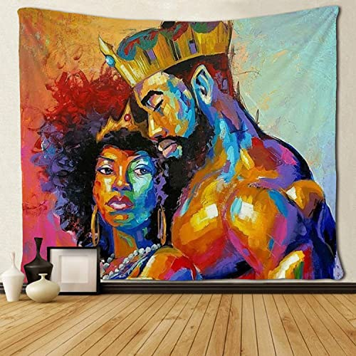 SARA NELL Tapestry African American Lovers Couple Oil Painting Tapestries Wall Art Hippie Bedroom Living Room