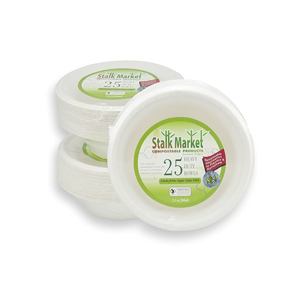 Stalkmarket 100% Compostable Sugar Cane Fiber Heavy Duty Tableware Retail Packs, 11.5 Ounce Bowl, 300-Count Case (Case of 12 Individual Retail Packs of 25 Bowls)