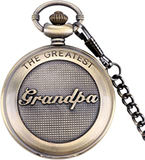 SwitchMe Retro Quartz Pocket Watch Japan Movement with Belt Clip Chain for Grandpa