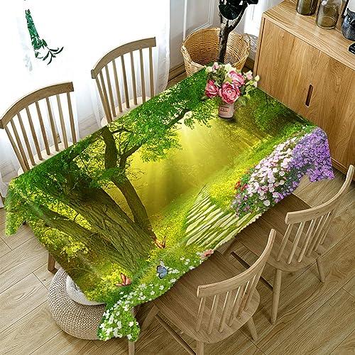 HUANZI H@Z Polyester Tischdecke 3D Unter Dem Baum Blühende Blaumen Druck staubdicht Verdickt Küche Dekoration Tischplatte Abdeckung, Rectangle - Wide 178cmx Long 274cm
