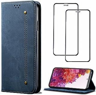 財布カバー 対応 Xiaomi Redmi K40 Pro Plus ケース レトロ 手帳型 カードスロット付き折り畳み式きスタンド機能 軽量 耐衝撃 PUレザー 電話ケース【ギフトとして強化ガラスフィルム2枚】(青)