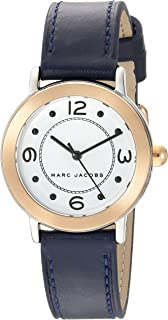 Marc Jacobs Women's 'Riley' Quartz Stainless Steel and Leather Casual Watch, Color:Blue (Model: MJ1604)