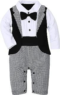 Baby Boy Suit Tuxedo Outfits Set,Toddler Gentlemen Rompers Formal Wear Jumpsuit Onesie(0-18 Months)