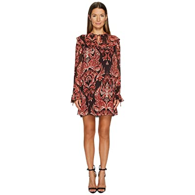 Just Cavalli Baroque Printed Long Sleeve Dress (Rose) Women