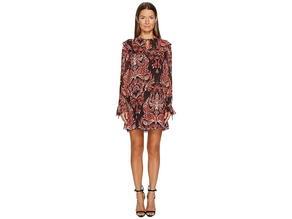Just Cavalli Baroque Printed Long Sleeve Dress (Rose) Women