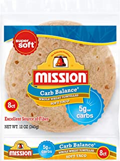 Mission Carb Balance Soft Taco Whole Wheat Tortillas | Low Carb, Keto, Whole Grains | High Fiber, No Sugar | Small Size | 8 Count