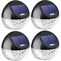 4 Pack AMIR Outdoor Solar Fence Lights for Wall, Pathway, Driveway, Patio, Yard, Garden (Black)