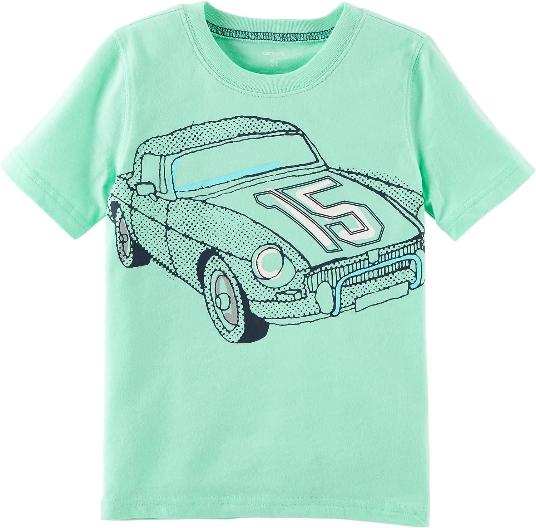 Carters Boys 2T-8 Short Sleeve Shark Tee (4/5, Mint/Race Car)