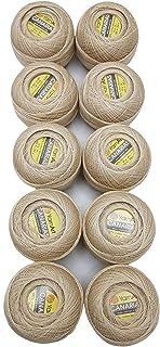 Ilkadim 10 x 20 Gramm 100% Baumwolle merzerisiert, 2030m YarnArt Canaris Häkelgarn, 200 Gramm Filet - Garn zum Häkeln, Basteln und für die Deko beige