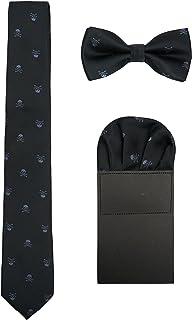 WANYING Hombre 6cm Corbata & Pajaritas & Pañuelo de Bolsillo 3 en 1 Set Moda Casual Cool - Calavera Patrón