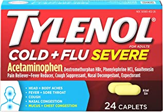 Tylenol Cold + Flu Severe Medicine Caplets for Fever, Pain, Cough & Congestion, 24 ct.