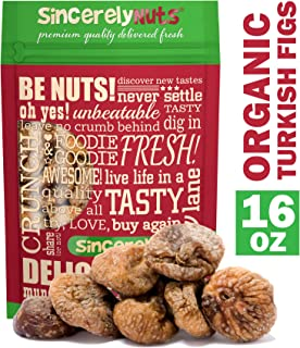 Sincerely Nuts Certified Organic Dried Turkish Figs - One Lb. Bag - Astoundingly Appetizing - Sealed for Freshness - Nutrient Rich - Kosher Certified