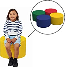 FDP SoftScape 18 Round Ottoman, Collaborative Flexible Seating for Kids, Teens, Adults, Furniture for Classrooms, Offices and Home, Junior 12 H, (4-Piece Set) - Assorted
