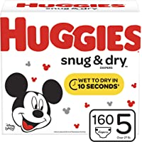 160 Count Huggies Snug & Dry Diapers Size 5 (Packaging May Vary)