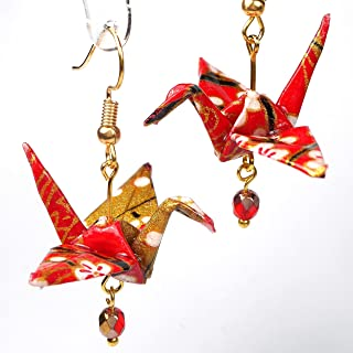 Pair of Origami Good Luck Paper Crane Earrings, Red White Gold Color, Birthday 1st Anniversary Gift