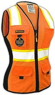 KwikSafety (Charlotte, NC) FIRST LADY Safety Vest for Women   Class 2 ANSI OSHA PPE   High Visibility Heavy Duty Mesh Pockets Zipper   Hi-Vis Construction Work Hi-Vis Surveyor Female   Orange Medium