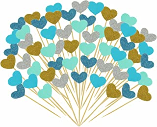Bilipala Funny Hearts Cake Decorations Toppers Picks for Wedding and Baby Birthday, 50 Counting