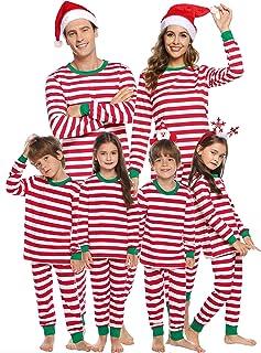 Christmas Family Juego de Pijama a Juego Ropa de Dormir de Navidad de Cuerpo Entero Conjunto de Ropa de Dormir de algodón Pjs de Manga Larga para Mujeres Hombres Niños y niñas