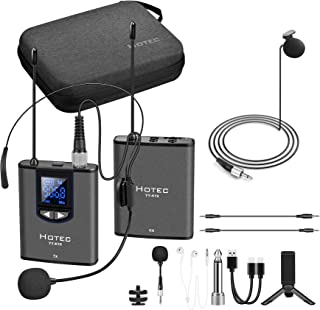 Hotec UHF Wireless Lavalier Lapel Headset Microphone with Monitor for Youtube, Interview, Meeting, Podcast, Video over Sma...