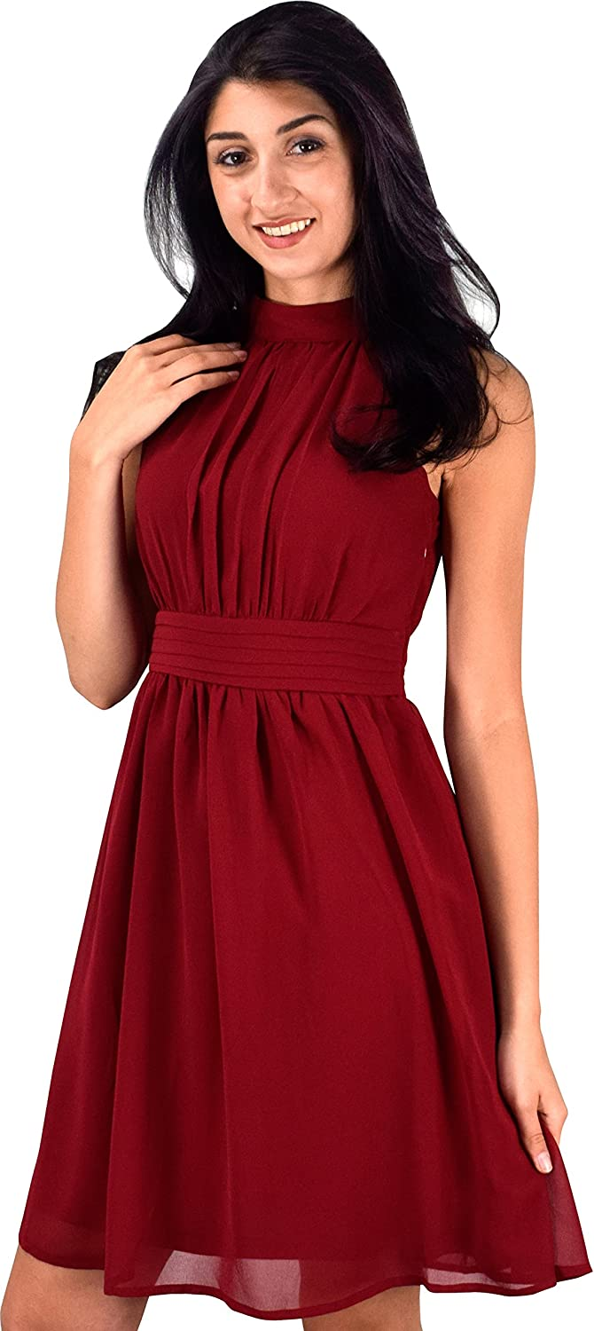 Peach Couture Womens Sleeveless Chiffon Classic Casual Fit & Flare Dress