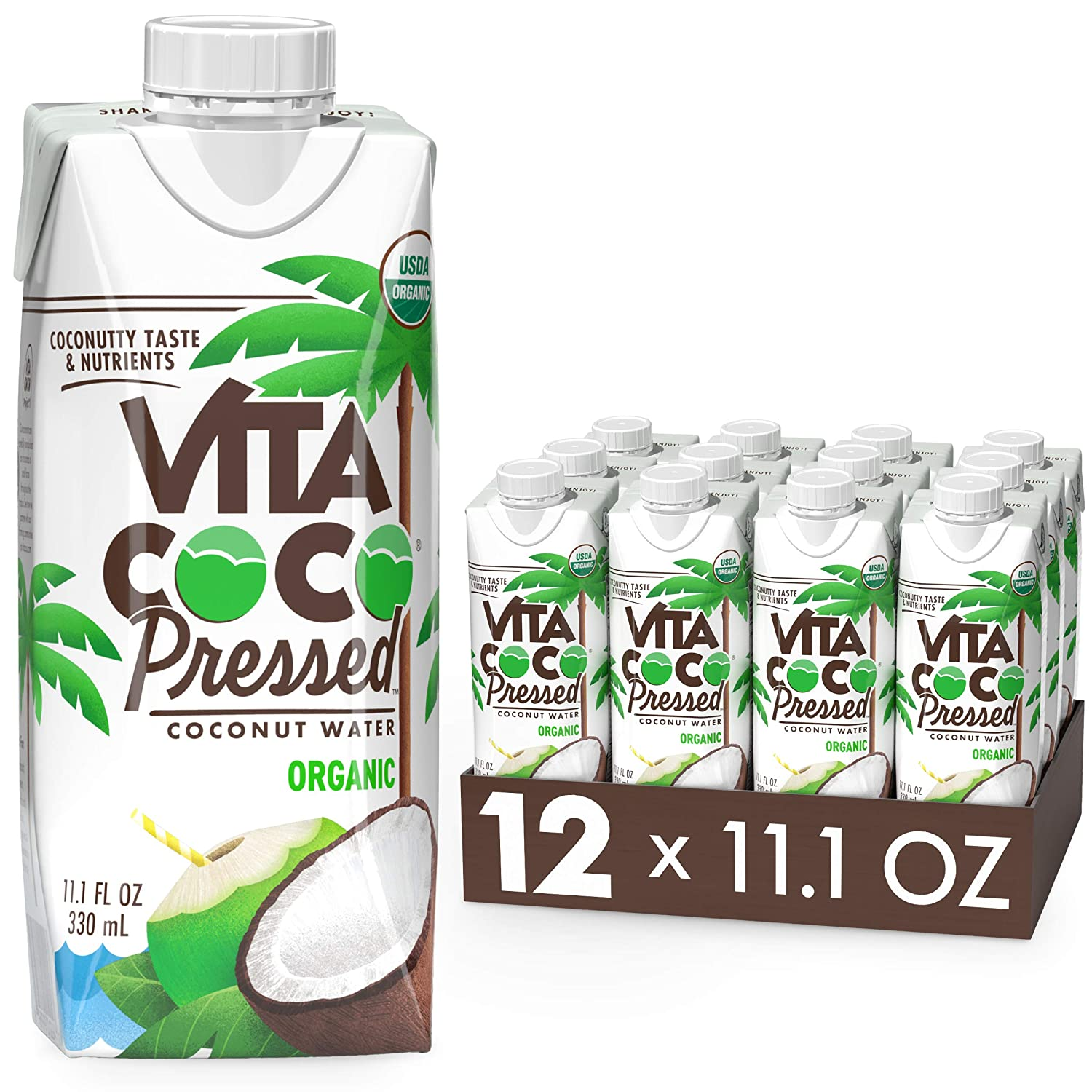"""Vita Coco Coconut Water, Pressed Organic Coconut   More """"Coconutty"""" Flavor   Natural Electrolytes   Vital Nutrients   11.1 Fl Oz (Pack of 12)"""