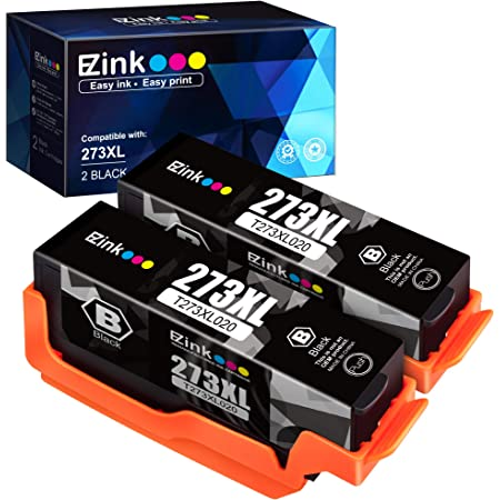 E-Z Ink (TM) Remanufactured Ink Cartridge Replacement for Epson 273XL 273 XL T273XL to use with XP-520 XP-600 XP-610 XP-620 XP-810 XP-820 Printer (2 Black) 2 Pack