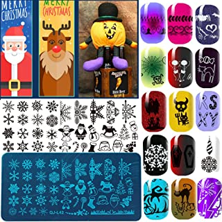 12 Pcs Christmas Snow Flower Printing Stainless Steel DIY Stamping Plates Nail Art Template For Polish Stencils