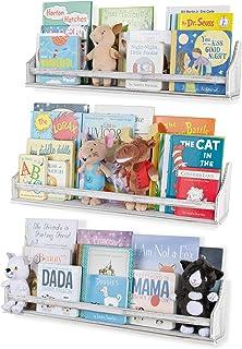 Nursery Décor Wall Shelves 3 Shelf Set Rustic Burnt White Long Crown Molding Floating Bookshelves for Baby and Kids Room, ...