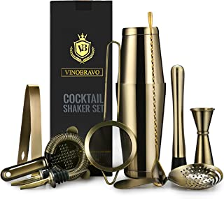 Vinobravo 11-Piece Boston Cocktail Drink Shaker Set Made From 304 Stainless Steel Bar Tools Bartender Kit with Recipe of 30 Classic Mixing Drink (Antique Brass)