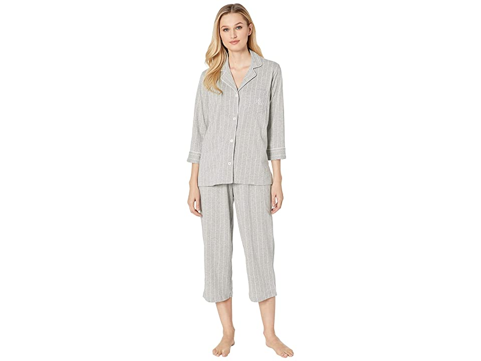 LAUREN Ralph Lauren Essentials Bingham Knits Capri PJ Set (Grey Stripe) Women
